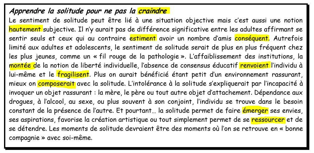 "Reading Prehension Practice In French ""La Solitude"